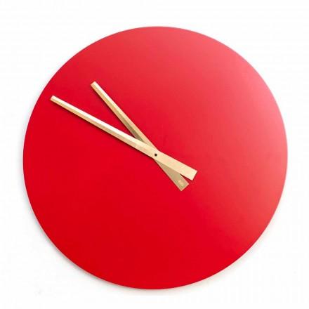 Relógio de parede moderno colorido grande em madeira redonda - Dione