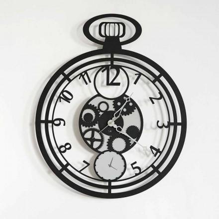 Relógio de parede circular moderno em ferro colorido fabricado na Itália - cereja