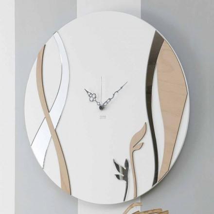Relógio de Parede Moderno e Redondo com Design em Madeira Decorada - Harmonia
