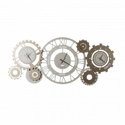 Relógio de Parede de Ferro Moderno com Três Fusi Fabricados na Itália - Mecânico