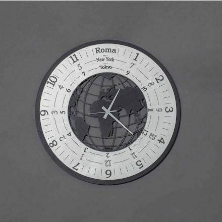 Relógio de parede moderno em ferro preto ou ardósia fabricado na Itália - Mundo