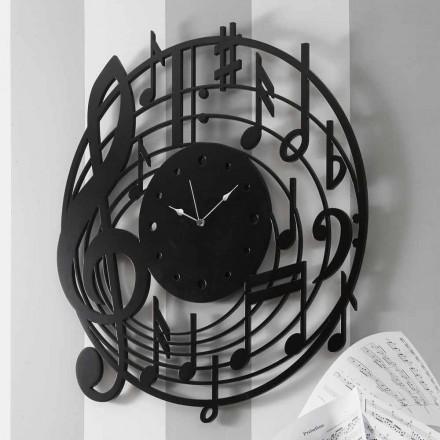 Relógio de Parede Preto Redondo Design Moderno em Madeira Decorada - Música