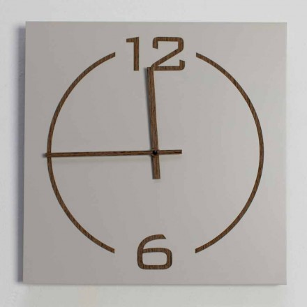 Relógio de parede quadrado e design moderno em madeira bege e marrom - Tabata