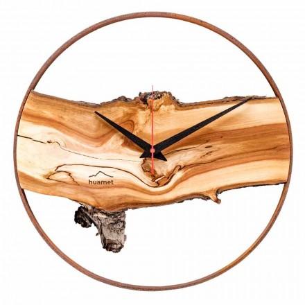 Relógio de parede redondo em madeira maciça de maçã fabricado na Itália - Sirmione