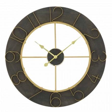Relógio de Parede Redondo Diâmetro 70 cm Design Moderno em Ferro e MDF - Tonia