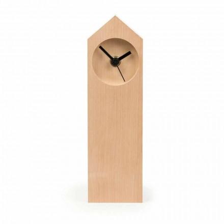 Relógio de mesa moderno em madeira de bordo evaporado feito na Itália - bordo