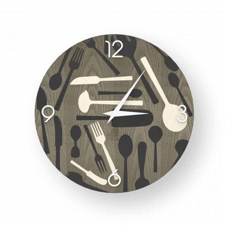 Relógio de parede de design Ispra feito de madeira, produzido 100% na Itália
