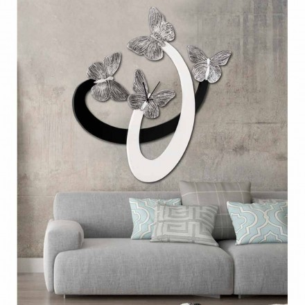 Relógio de parede design moderno Zenia com borboletas elegantes, marfim / preto