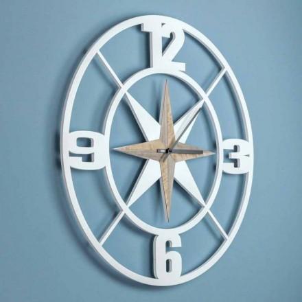 Design de relógio de parede grande em madeira branca e marrom gasto - dobradiça