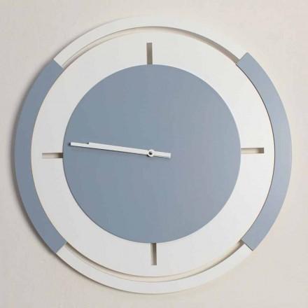 Relógio de parede clássico redondo grande em madeira branca e avio - Beppe
