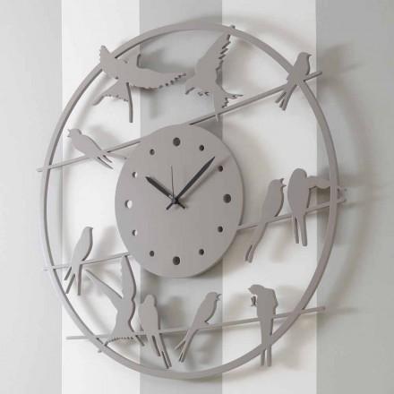Relógio de Parede Grande Design Moderno em Madeira Redonda Colorida - Pássaros