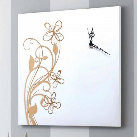 Relógio de parede quadrado grande em madeira branca com flor - Florello