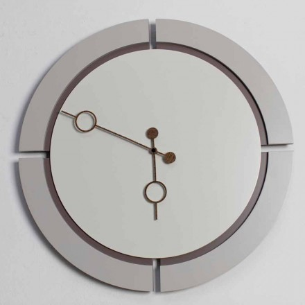 Relógio de parede redondo grande com design moderno em madeira marrom e bege - Osvego