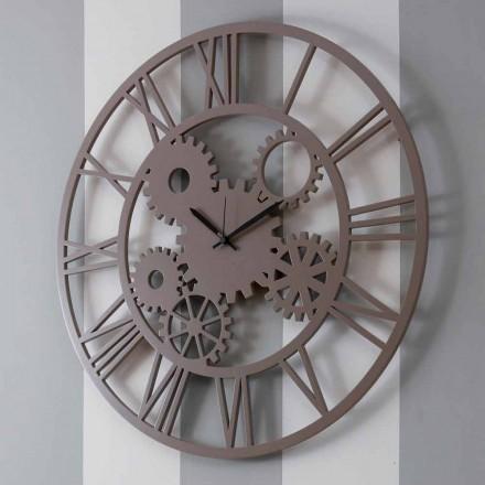Relógio de Parede de Madeira Colorido Grande e Redondo - Mecanismo