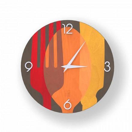 Relógio de parede de design moderno Agra feito de madeira, produzido na Itália