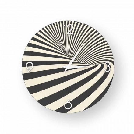 Relógio de design de madeira decorada Azzio, produzido 100% na Itália