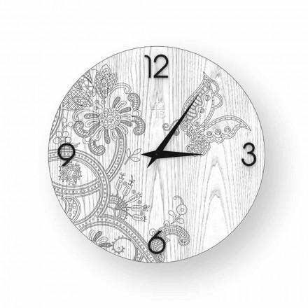 Relógio de parede de design moderno feito de madeira Ton, produzido na Itália