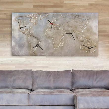 Relógio de parede do mapa do mundo Miles, com 5 faces do relógio, made in Italy