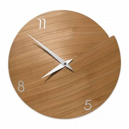 Relógio de parede moderno artesanal em madeira natural - Cratere