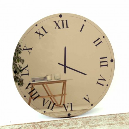Relógio de parede redondo em cristal espelhado feito na Itália - engrenagem