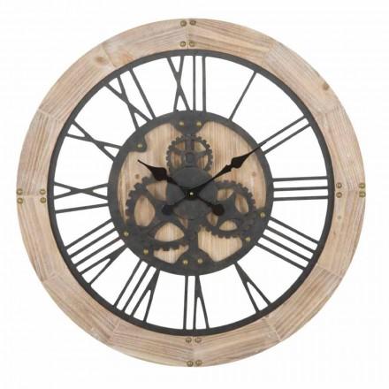 Relógio de Parede Redondo Diâmetro 80 cm Design em Ferro e MDF - Silva