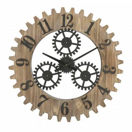 Relógio de Parede Redondo com Design Moderno em Ferro e MDF - Gitta