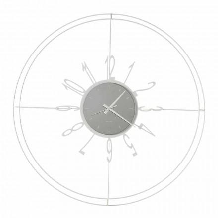 Relógio de parede redondo em ferro branco, preto ou bronze feito na Itália - Compass