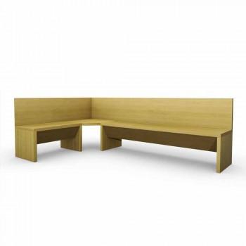 Banco de canto em madeira de carvalho com recipiente de design moderno, Cassy