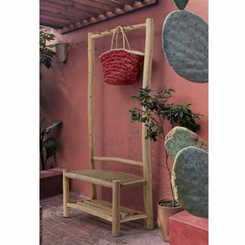 Banco ao ar livre com cabide em ramos de teca e fibra tecida - pêssego