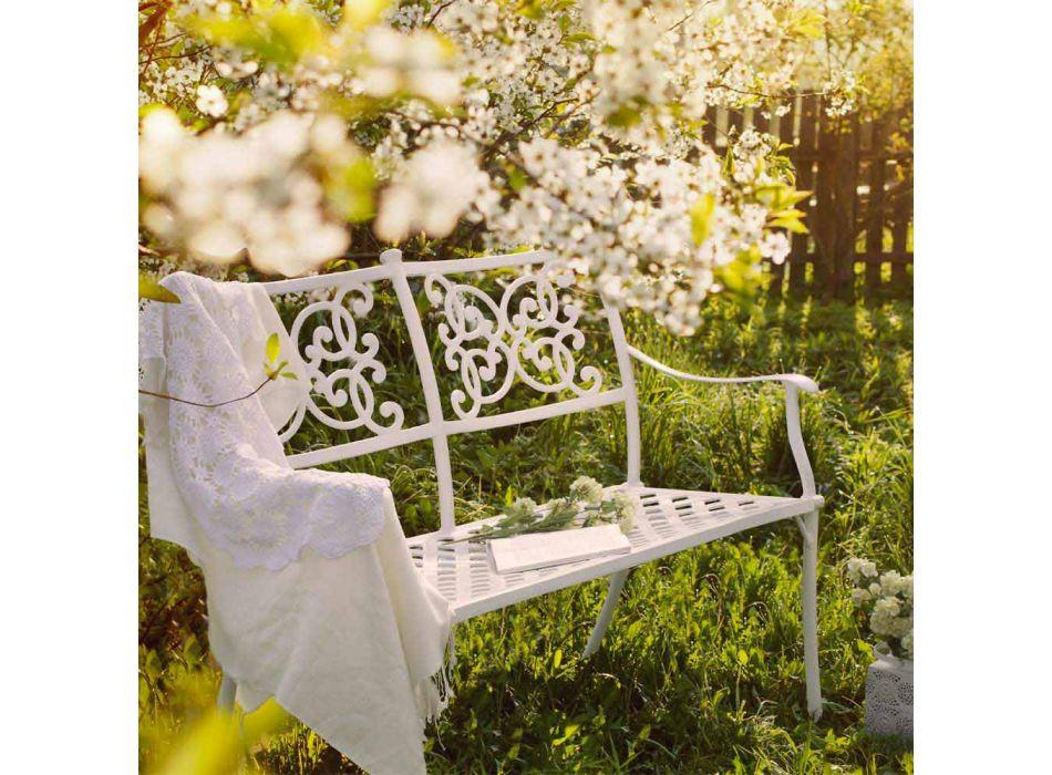 Banco de jardim empilhável em efeito brilhante alumínio branco - Sama