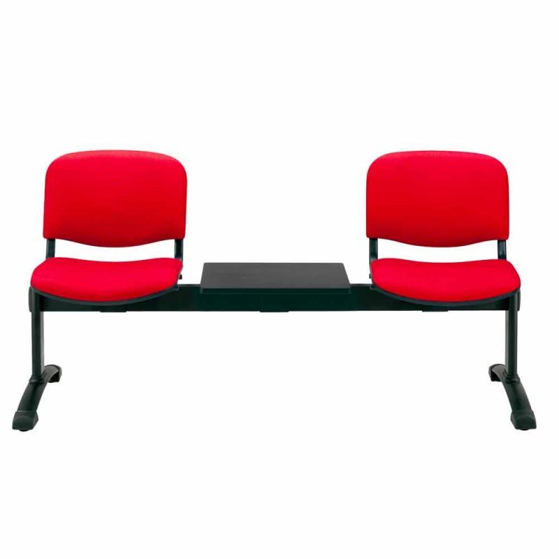 Banco da Sala de Espera com 2 Módulos de Assento em Tecido / Faux Couro e Faia - Carmela