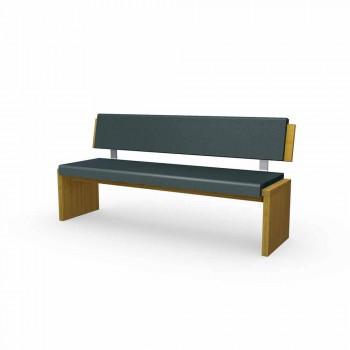 Banco linear de design moderno em carvalho cinza e eco-couro preto, Candy