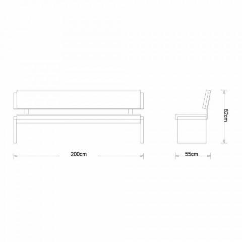 Banco linear moderno em carvalho cinza e imitação de couro preto, Misty