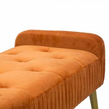 Banco Rust retangular moderno em madeira e tecido - Zack