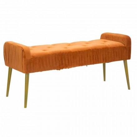 Banco Rust retangular moderno em tecido e madeira - Zack