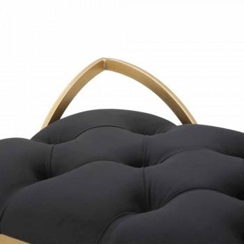 Banco retangular de design moderno em ferro, MDF e tecido - Anthea