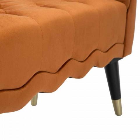Banco retangular de design moderno em madeira e tecido - Theodore