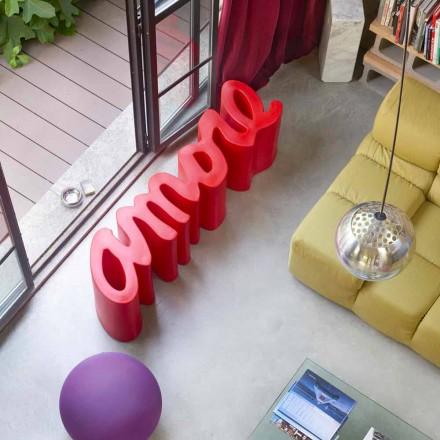 Banco de design exterior / interior colorido Slide Amore, fabricado em Itália