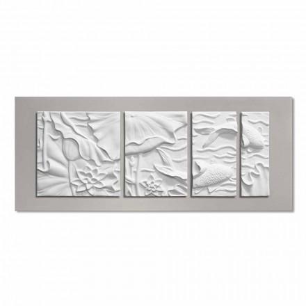 Painel decorativo decorativo moderno em cerâmica branca e cinza - Giappoko