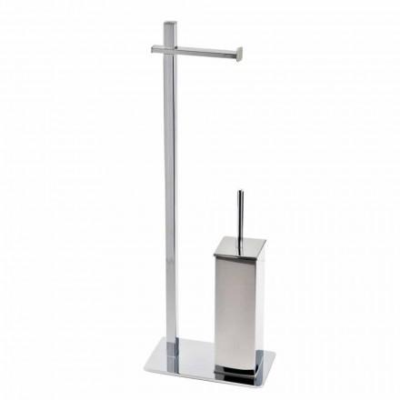 Suporte de ferro de design moderno para escova de vaso sanitário e rolo feito na Itália - Cali
