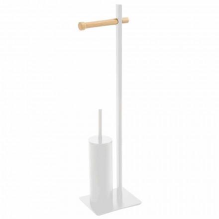 Escova de vaso sanitário e suporte de papel higiênico em metal e madeira Zelbio