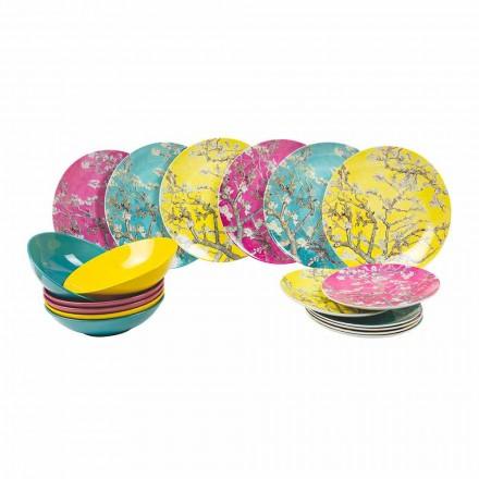 Pratos de Porcelana e Grés Coloridos Modernos Serviço de Mesa 18 Peças - Nagoya
