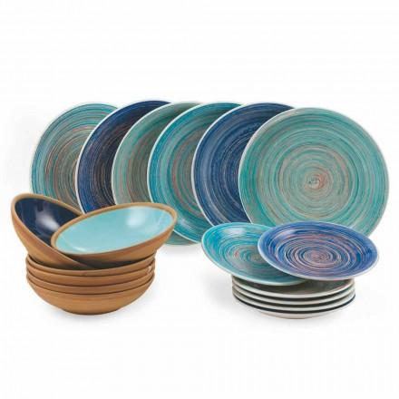 Pratos coloridos e modernos 18 peças em serviço completo de mesa em grés - Egadi