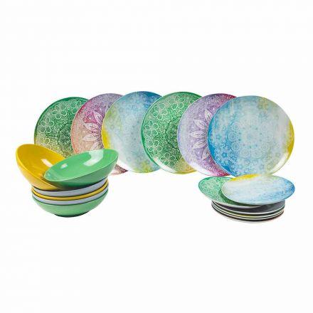 Pratos Coloridos em Porcelana Mesa de Serviço 18 Peças - Ipanema