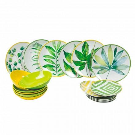 Pratos coloridos em porcelana e Gres Modern Service Complete 18 Pieces - Albore