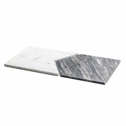 Pratos de servir em mármore de Carrara e Bardiglio fabricado na Itália, 2 peças - Ervilha