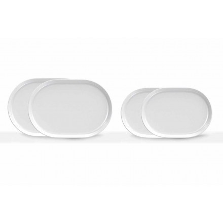 Pratos de servir ovais brancos de design moderno em porcelana 4 peças - Ártico