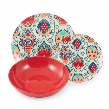 Placas de design coloridas em serviço de porcelana 18 peças - Zâmbia