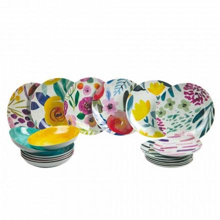 Pratos de Mesa Design Colorido em Grés e Porcelana 18 Peças - Tintarello