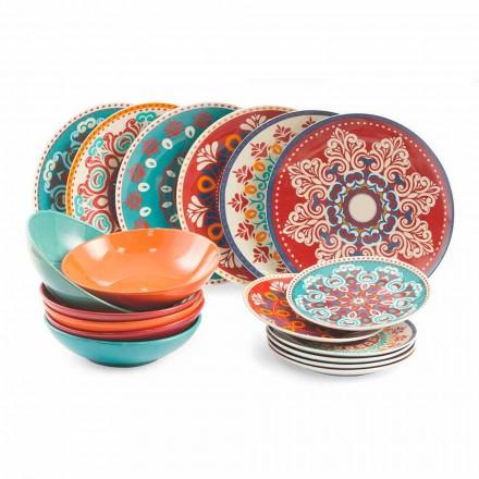 Pratos étnicos Serviço de mesa em grés e porcelana colorida de 18 peças - Pérsia